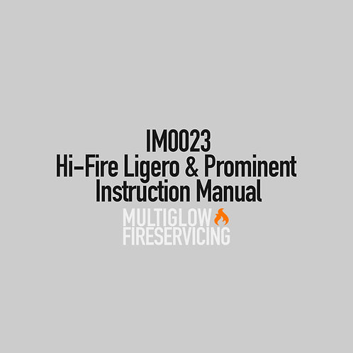 IM0023 - Hi-Fire Ligero & Prominent Instruction Manual