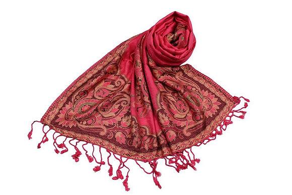 Étole Viscose Unie Bordure Motif Floral N39