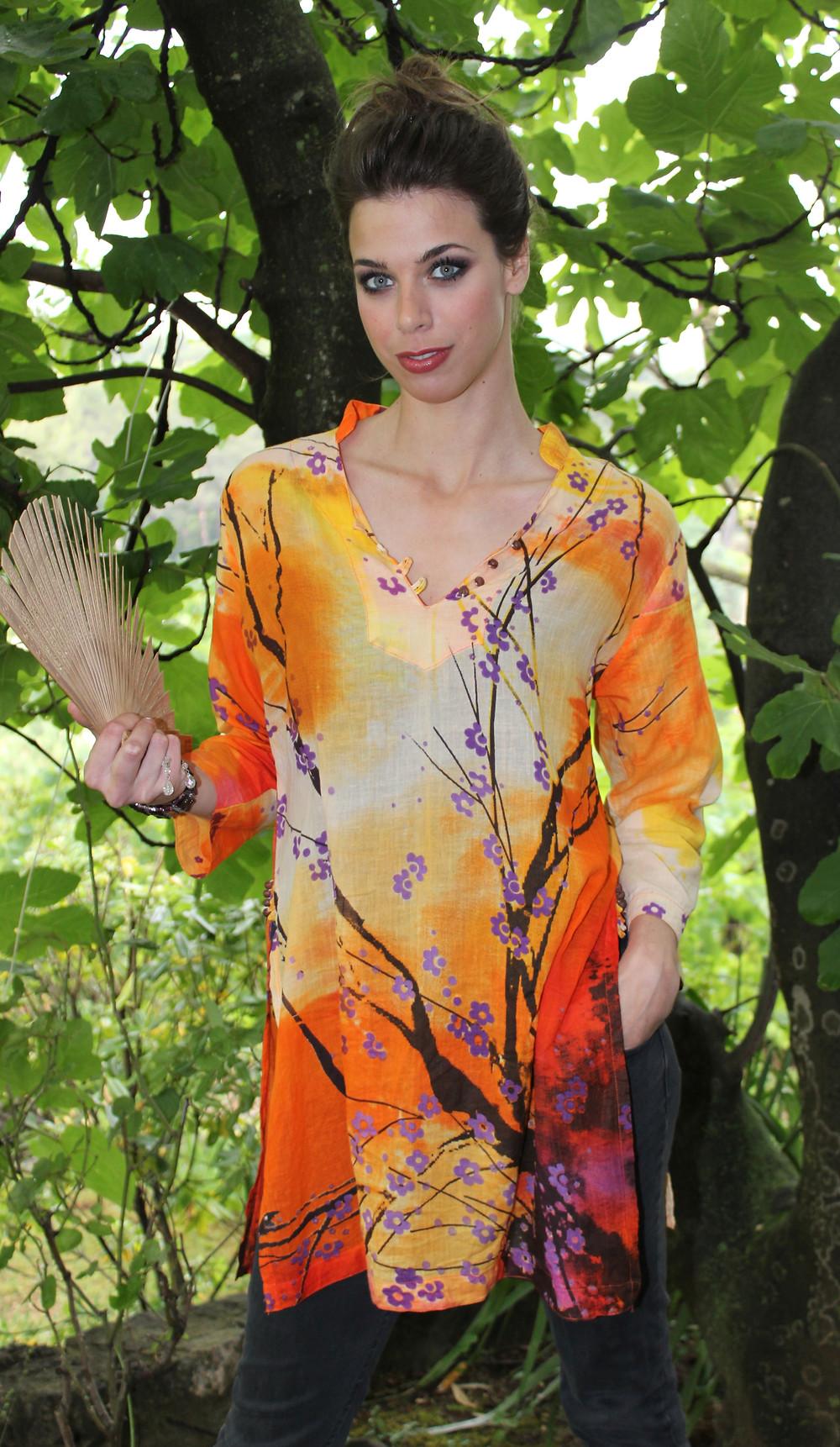 Tunique femme bouton en bois Shankara Fleurs de prunier orange