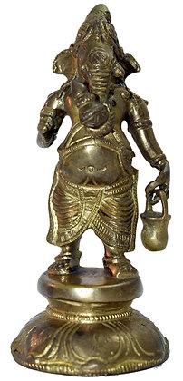 Statue Ganesh debout portant un Kamandal Bronze N194