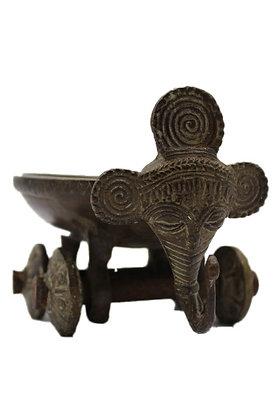 Objet Pot Elephant roue Dhokra Bronze N360