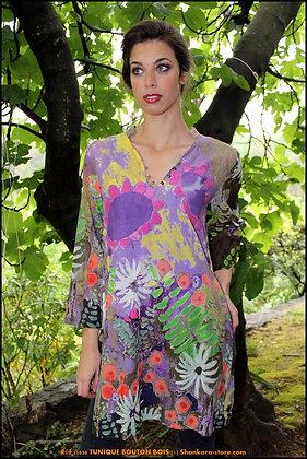 Tunique Bouton Bois - Florale - Violette - 11030TBB