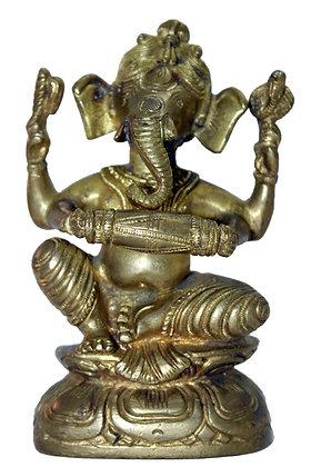 Statue Ganesh assis jouant du tambour Mridang Bronze N195