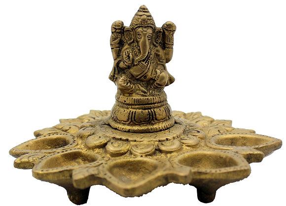 Statue Lampe à huile à 5 mèches Ganesh Bronze N 223