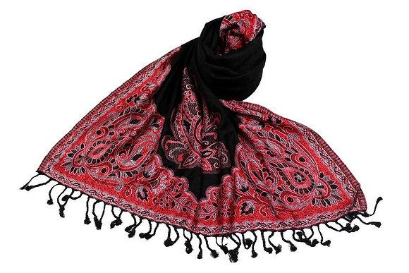 Étole Viscose Unie Bordure Motif Floral N14