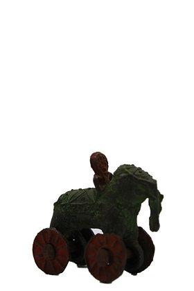 Statue  ancien jouet Éléphant à roulettes dhokra Bronze N385