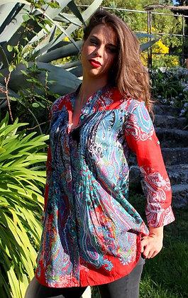 Tunique Plissée - Cachemire rouge - 12014TP