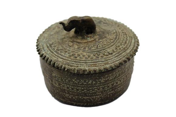Objet Boite ronde avec couvercle Dhokra Bronze N375