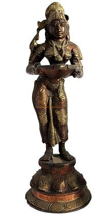 Statue Lampe à huile Deepa Lakshmi Bronze N102
