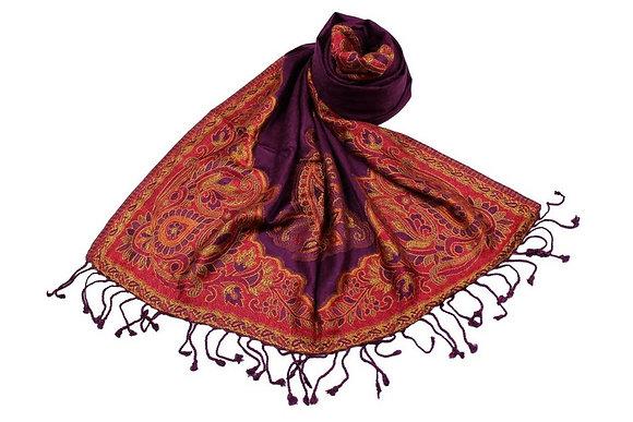 Étole Viscose Unie Bordure Motif Floral N36