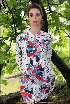 Tunique Plissée - Fleurs de Corail - Blanche - 11013TP