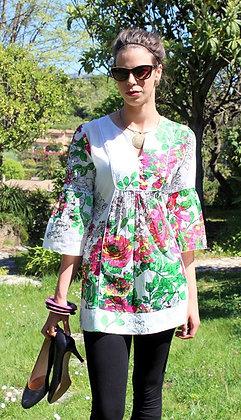 Tunique Romantique - Fleurs Fushias - 12003TR