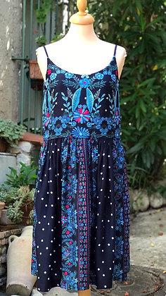 "Robe courte femme made in France 'Nuit d'Orient, bleu marine"""
