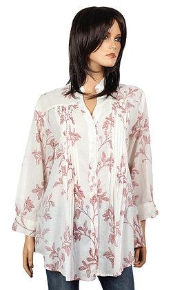 Tunique Plissée - Blanche - Fleurs rouges - 14010TP