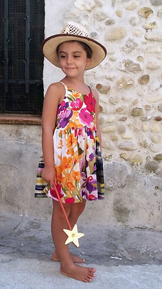 "Robe courte fille made in France ""Champ de fleurs roses"""
