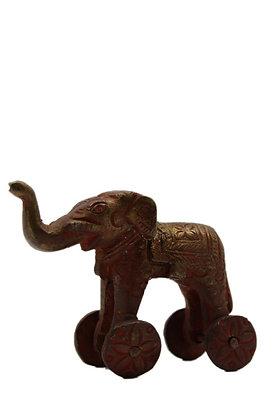 Statue figurine Éléphant sur roulettes dhokra Bronze N380