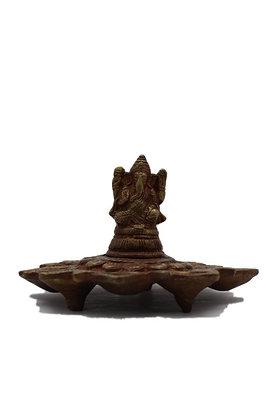 Statue Lampe à huile Ganesh à 5 mèches Bronze N324