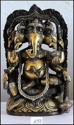 Statue Ganesh à 3 têtes ou Trimukha Ganapati Bronze N109