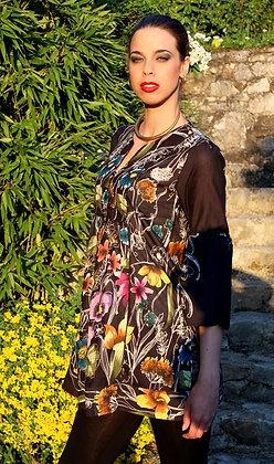 Tunique Romantique - Noire Fleurie - 12002TR