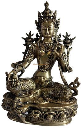 Statue Tara verte Syamatara, Cintamani Tara Bronze N97