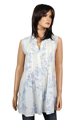 Tunique Sans-Manche - Blanche - Fleurs bleues -14019TSM