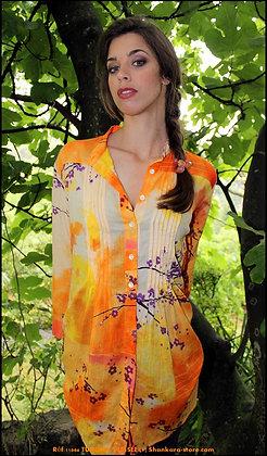 Tunique Plissée - Fleurs de Prunier - Orange - 11006TP