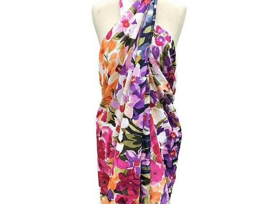 Paréo -sarong Écharpe - Champs de fleurs colorés - 15010P