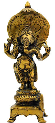 Statue Ganesh Vignaraja debout sur le serpent Shesha Bronze N 216
