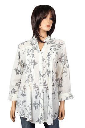 Tunique Plissée - Blanche - Fleurs  noires - 14012TP