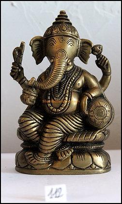 Statue Ganesh assis sur un lotus Bronze N112