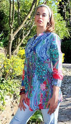 Tunique Plissée - Cachemire - Bleu - 12015TP
