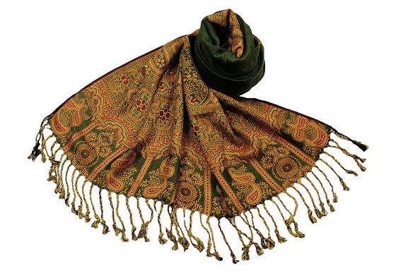 Étole Viscose Unie Bordure Motif Cachemire N9