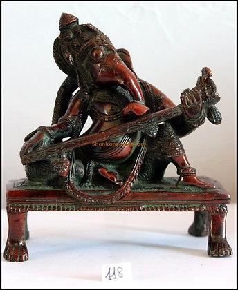 Statue Ganesh jouant du sarod Bronze N118