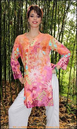 Tunique Bouton Bois - Florale - Orange - 11029TBB