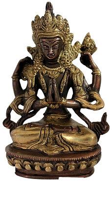 Statue Bodhisattva Avalokitésvara ou Bouddha Tchenrézi  Tibétain Bronze N81