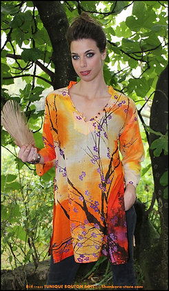 Tunique Bouton Bois - Fleurs de Prunier - Orange - 11032TBB