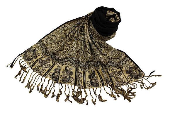 Étole Viscose Unie Bordure Motif Cachemire N2