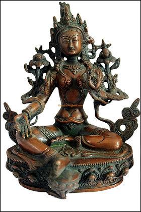 Statue Tara verte Syamatara,Cintamani Tara  Bronze N95