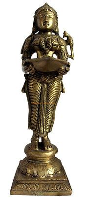 Statue Lampe à huile Deepa Lakshmi Bronze N101