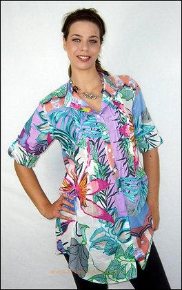 Tunique Plissée - Palme Bleue - 10005TP