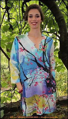 Tunique Bouton Bois - Fleurs de Prunier - Bleue -11035TBB