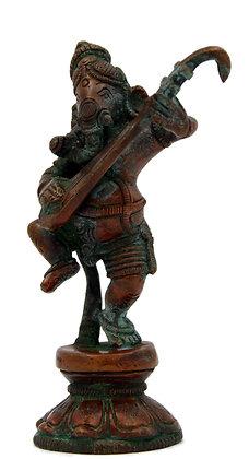 Statue Ganesh debout jouant du surbahar Bronze N 272