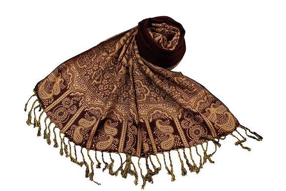 Étole Viscose Unie Bordure Motif Cachemire N13