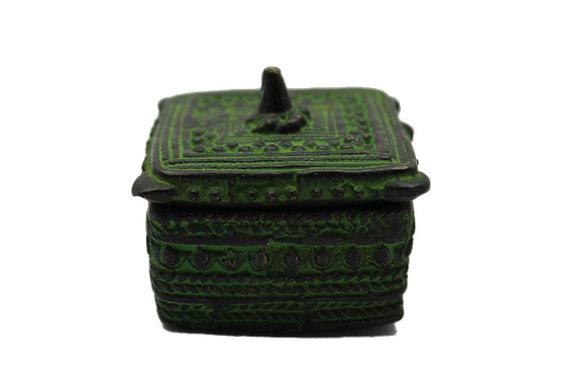 Objet Boite carré dhokra Bronze N378