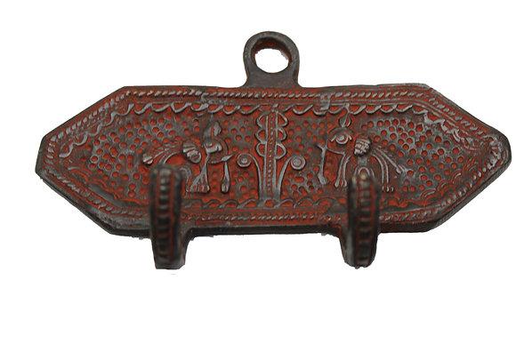 Patère 2 crochets  Éléphant Dhokra Bronze N442