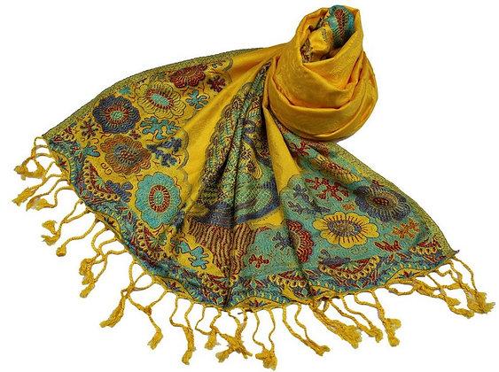 Étole Viscose Unie Bordure Motif Floral N20
