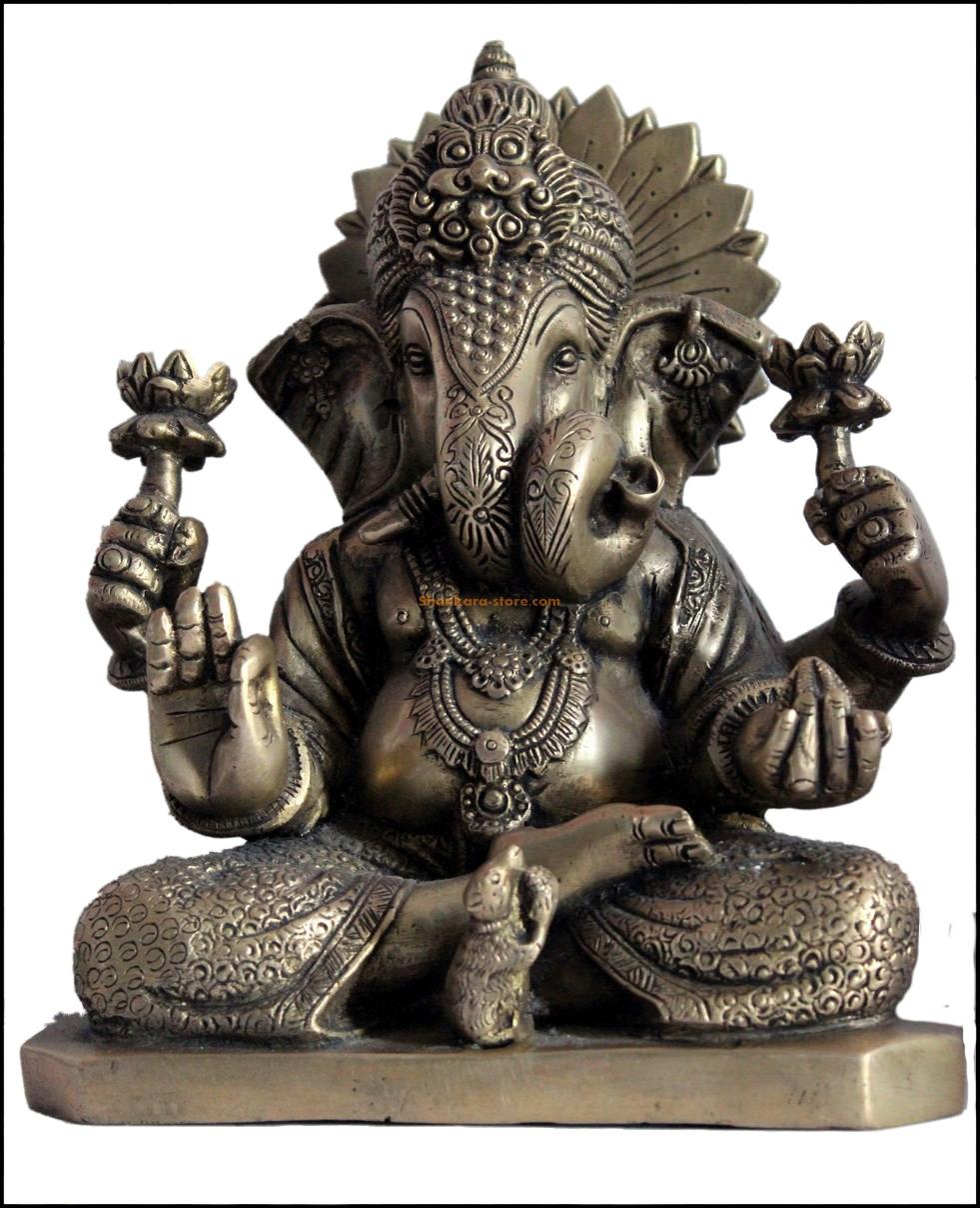 Ganesh Trompe A Droite shankara-store galerie : bronze art d'asie section : statues
