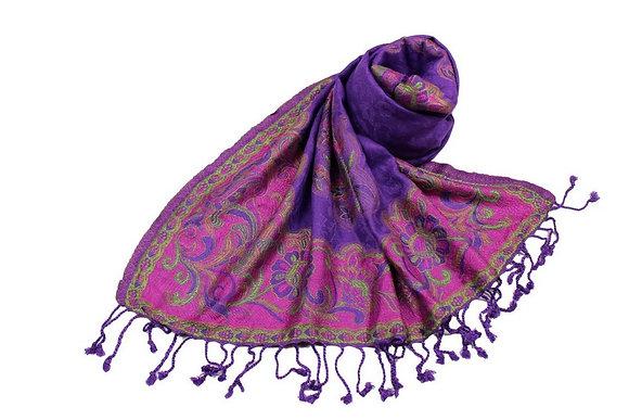 Étole Viscose Unie Bordure Motif Floral N34