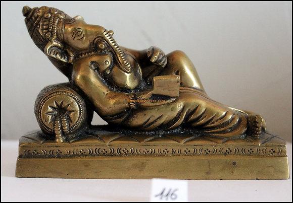 Statue Ganesh allongé écrivant les Véda Bronze N116