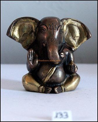 Statue Ganesh Ganapati assis Bronze N133